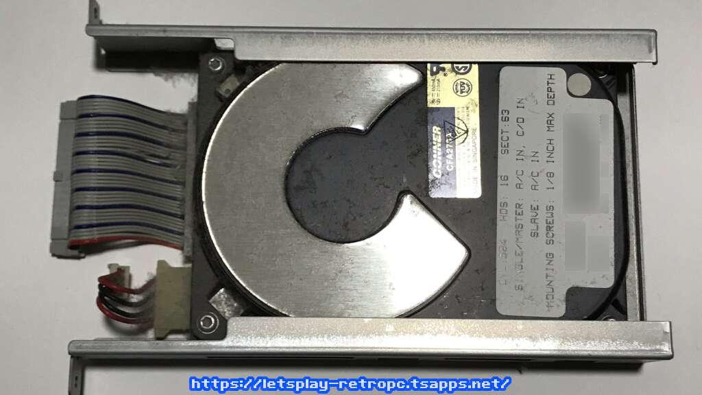 取り外したハードディスク
